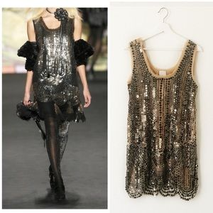 Anna Sui Silk Tulle Sequin Sleeveless Mini Dress